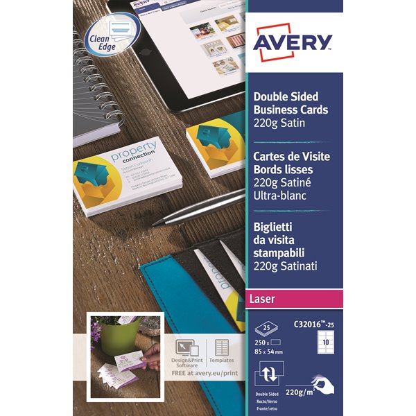 Business Cards Avery Business Cards Double Sided Satin C32016-25 (250Cards)