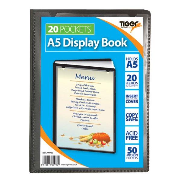 Tiger A5 Presentation Display Book Black 20 Pocket