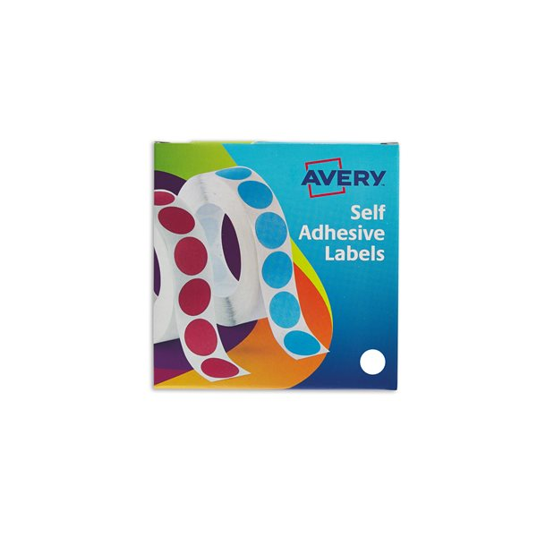 Coloured Labels Avery Labels in Disp Round 19mm DIA Wht 24-404 (1400 Labels)
