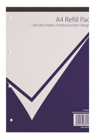 Value A4 Refill Pad 160 Page Feint Ruled & Margin PK10