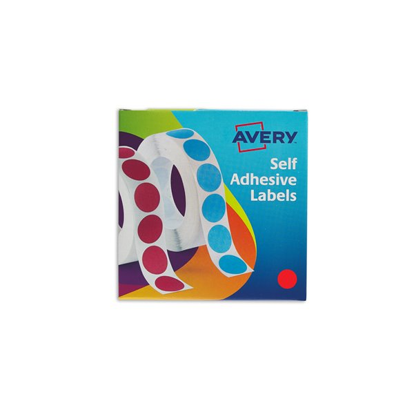 Coloured Labels Avery Labels in Disp Round 19mm DIA Red 24-506 (1120 Labels)