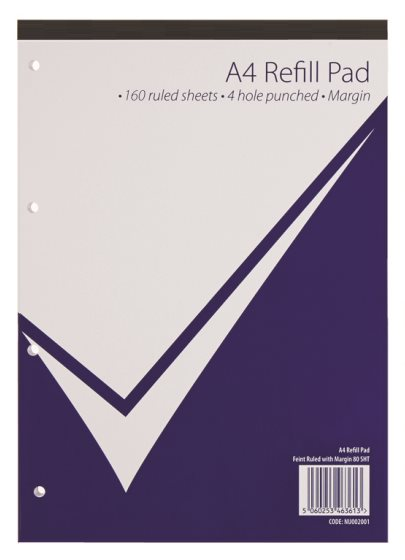 Value A4 Refill Pad 320 Page Feint Ruled & Margin PK5
