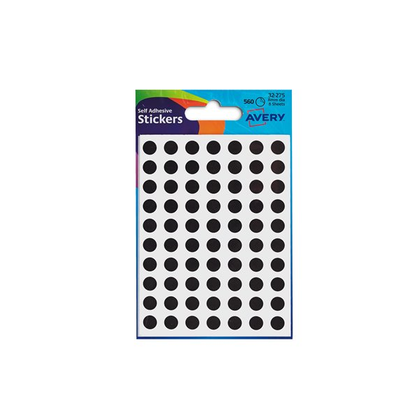 Coloured Labels Avery Coloured Labels Round 8mm DIA Black (560 Labels)  PK10