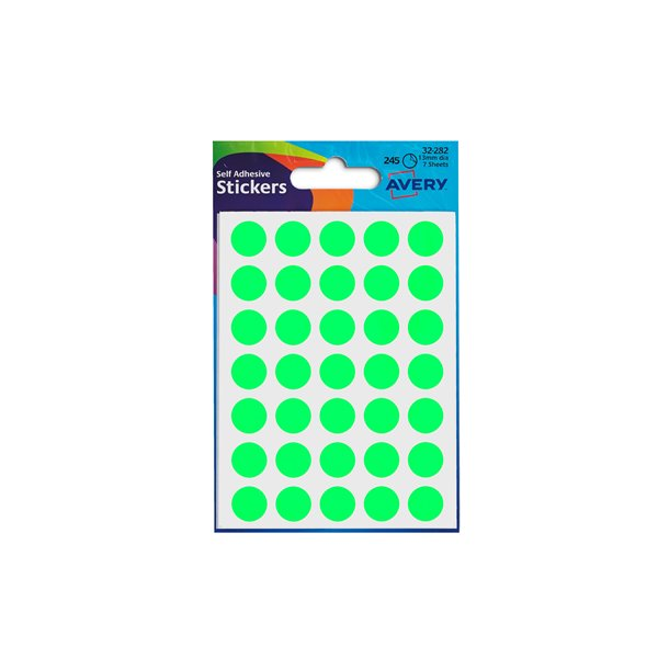 Coloured Labels Avery Coloured Labels Round 12mm DIA GR (245 Labels)  PK10