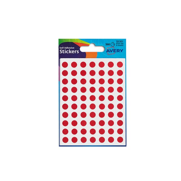 Coloured Labels Avery Coloured Labels Round 8mm DIA Red (560 Labels)  PK10