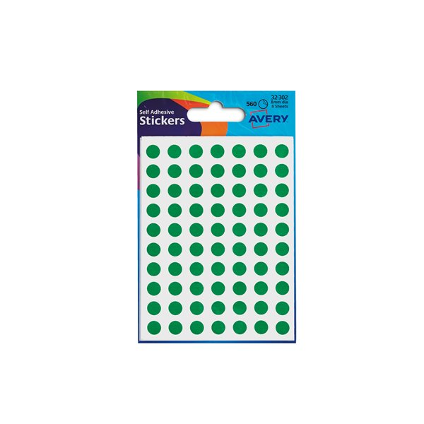 Coloured Labels Avery Coloured Labels Round 8mm DIA Green (560 Labels)  PK10