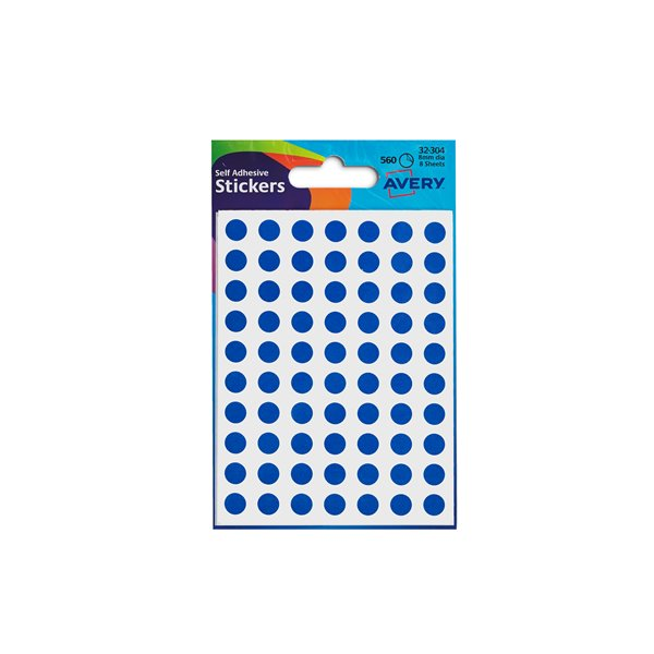 Coloured Labels Avery Coloured Labels Round 8mm DIA Blue (560 Labels)  PK10