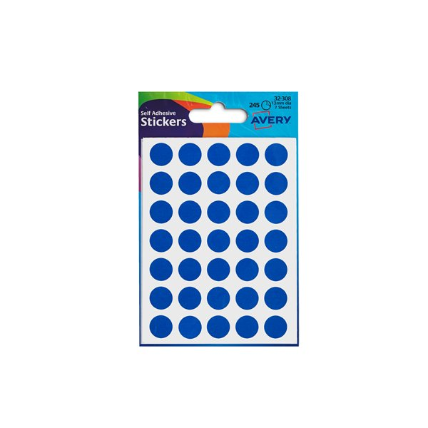 Coloured Labels Avery Coloured Label Round 12mm DIA Blue (245 Labels)  PK10