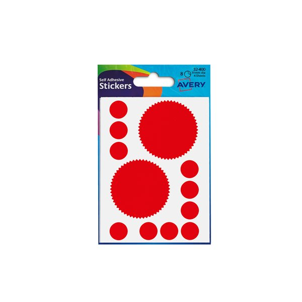 Coloured Labels Avery Company Seal Labels Red (80 Labels)  PK10