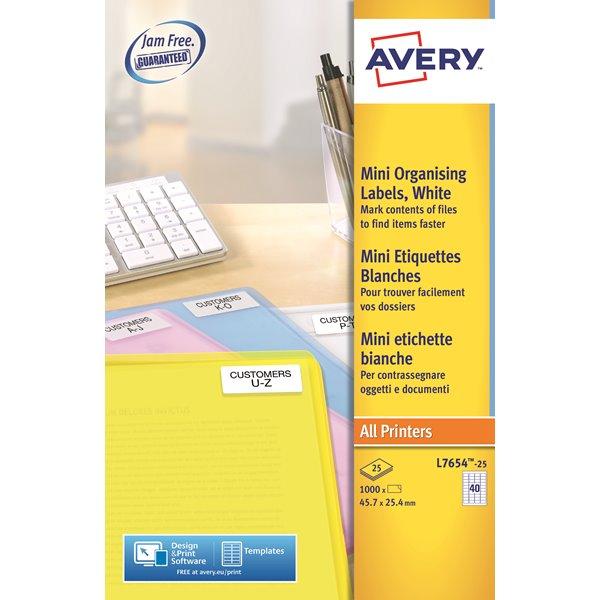 Avery Mini Laser Lbls 45.7x25.4mm L7654-25 40 p/sheet PK1000