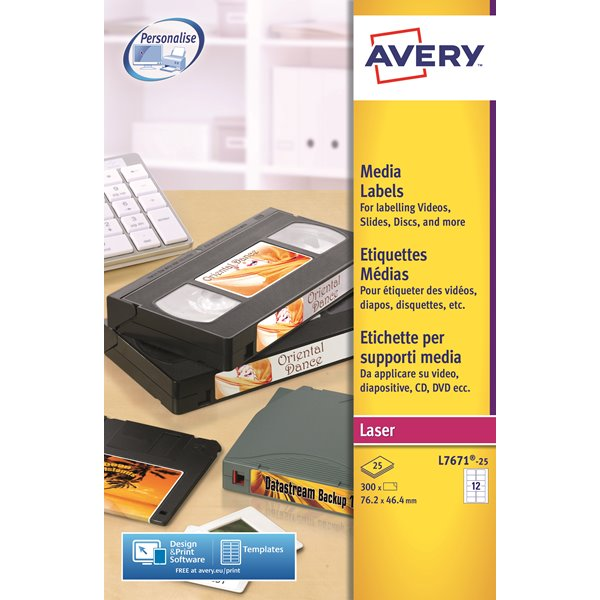 Filing / Media / Retail Avery Video Face Label Laser 76.2x46.4mm L7671-25 PK300