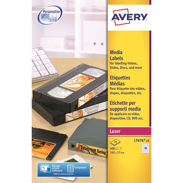 Filing / Media / Retail Avery Video Spine Label Laser 145x17mm L7674-25 PK400