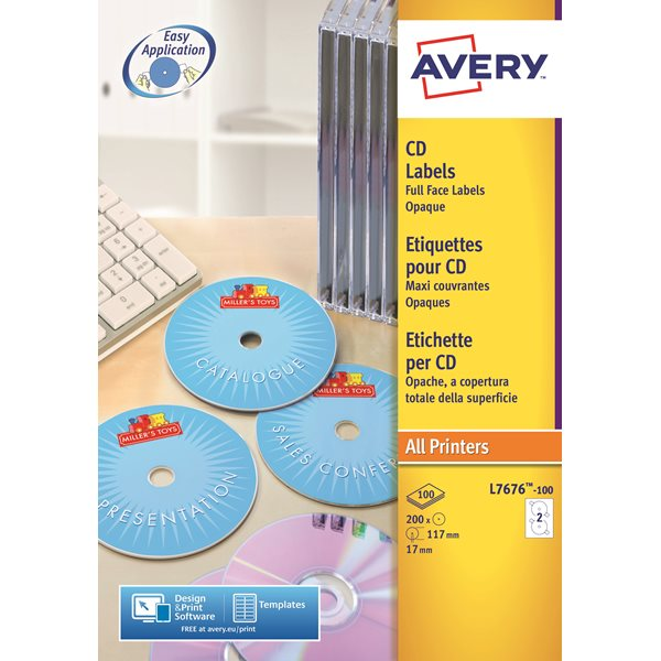 Avery FullFace CD Laser 117mm DIA L7676-100 2 p/sheet PK200