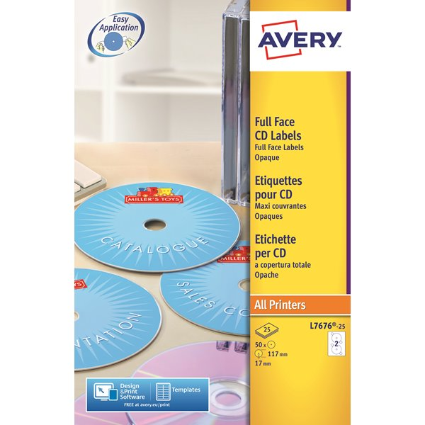 Avery Full Face CD Laser Labels 117mm DIA L7676-25(50Labels)