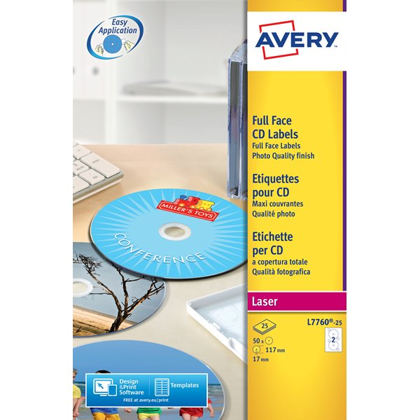 Avery Full Face CD Glossy Laser 117mm DIA L7760-25(25Labels)