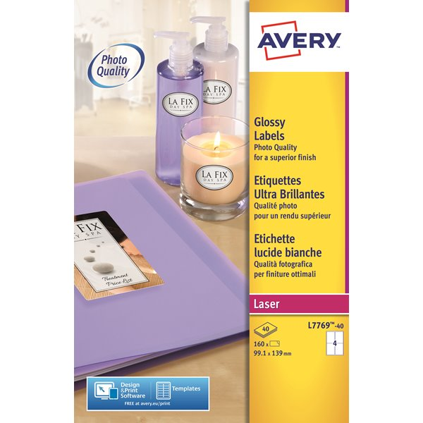 Avery Glossy Colour Labels 139x99mm L7769-40 4 p/sheet PK160