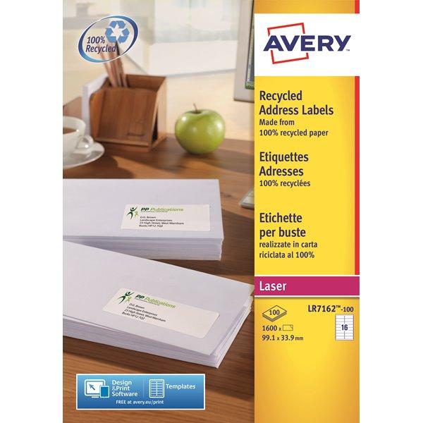 Avery LR7162-100 99.1x33.9mm Recycled Lbls 16 p/sheet PK1600