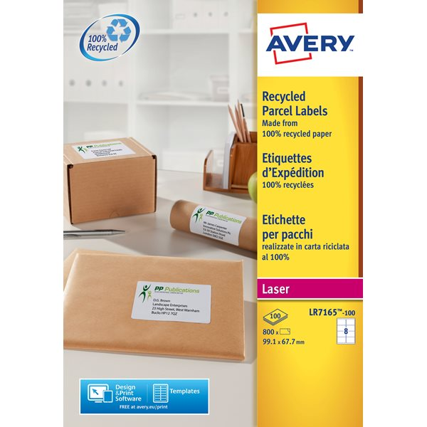 Avery LR7165-100 99.1x67.7mm Recycled Labels PK800
