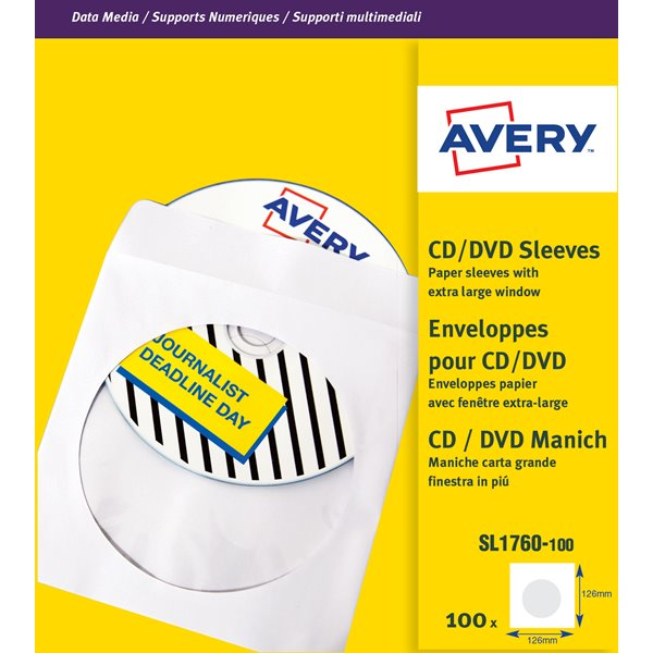 Cases Avery CD/DVD Sleeves Window 126x126mm SL1760-100 (100Labels)