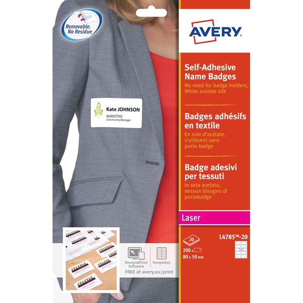 Avery Name Badge Self Adh 80x50mm Wht L4785-20 (200 Badges)