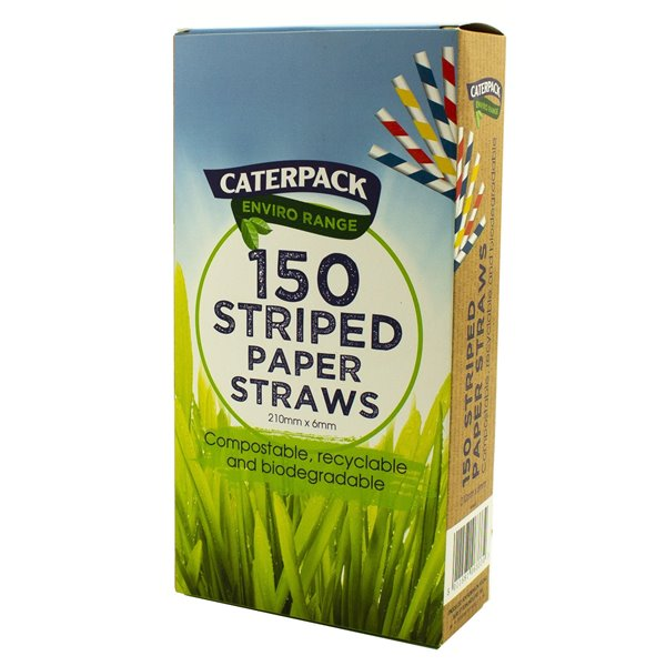 Enviro Paper straws Striped pk 150
