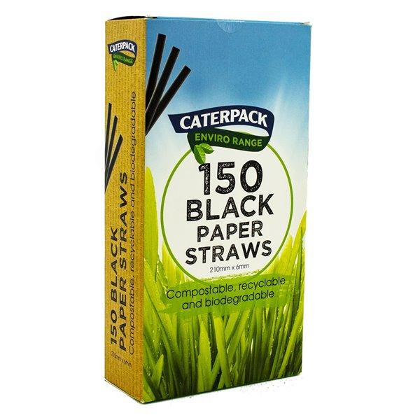 Enviro Paper straws Black pk 150