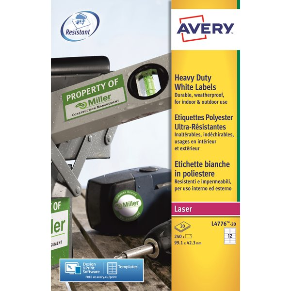 Avery HD Label 99.1x42.3mm 12 per sheet PK240