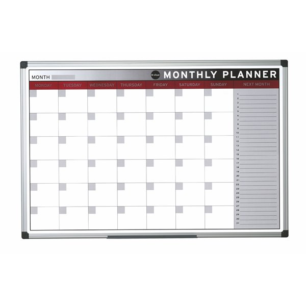 Planners Bi-Office Magnetic Month Planner Alu Frame 900x600 mm