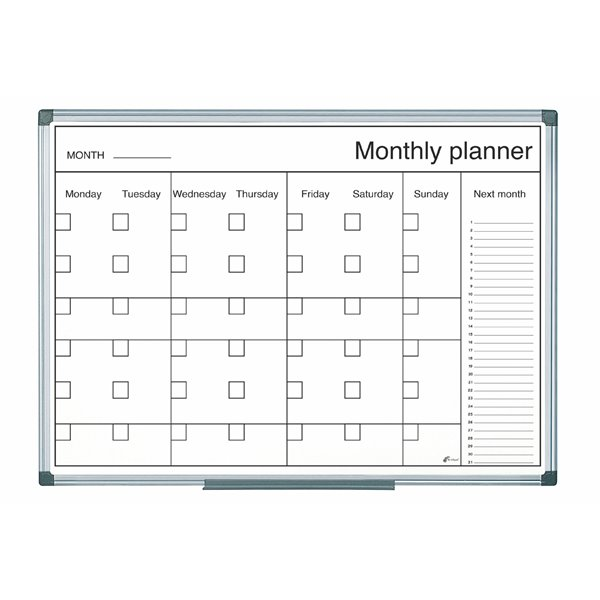 Planners Bi-Office Magnetic Black and White Month Planner 60x40cm