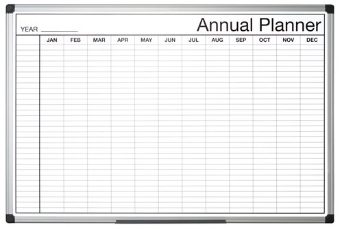 Planners Bi-Office Black and White Annual Planner 90x60cm