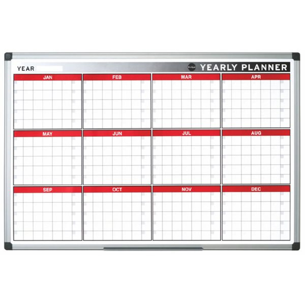 Planners Bi-Office Magnetic annual Planner Alu Frame 900x600 mm
