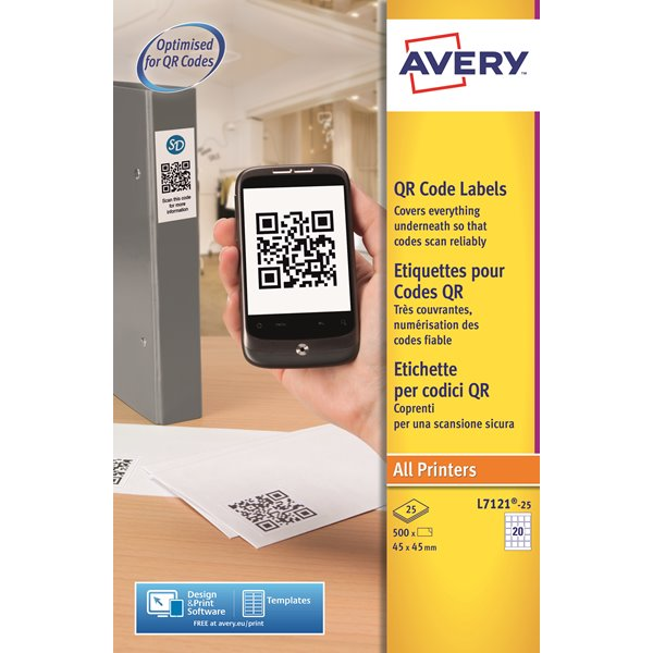 Filing / Media / Retail Avery QR Code Labels Square 45X45mm