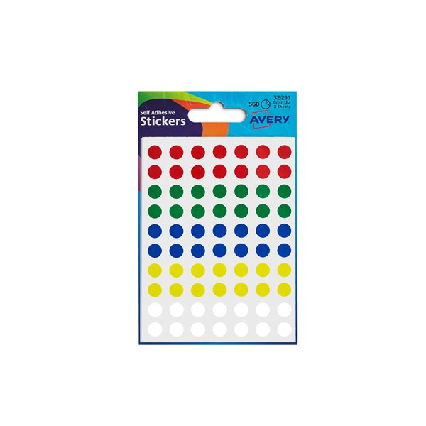 Coloured Labels Avery Coloured Labels Round 8mm Dia Assorted 32-291 PK10x560