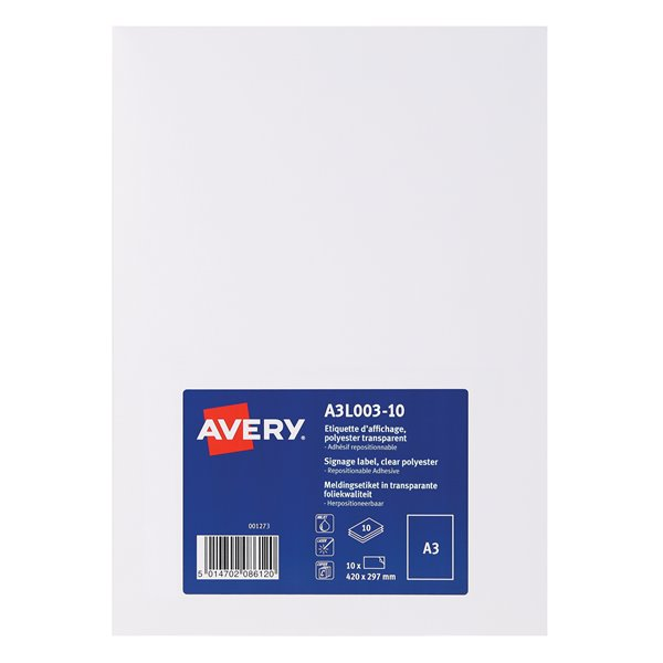 Filing / Media / Retail Avery A3L003-10 Clear Disp Label A3 Removable and Repos PK10
