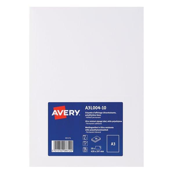 Avery A3L004-10 Permanent Display Labels A3 Permanent PK10