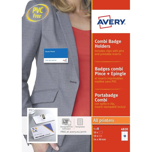 Avery Combi Badge Holders 54x90mm 50 Inserts 50 Holders
