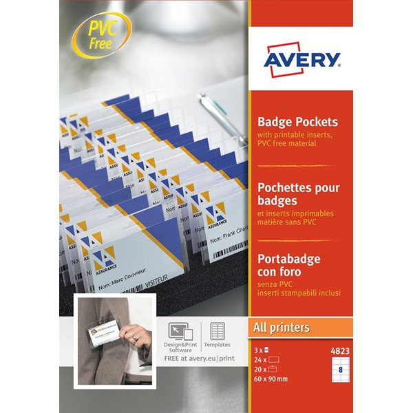 Avery Badge Pockets 60x90mm 24 Inserts 20 Holders
