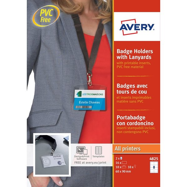 Avery Badge Holders with Lanyards 60x90mm PK10