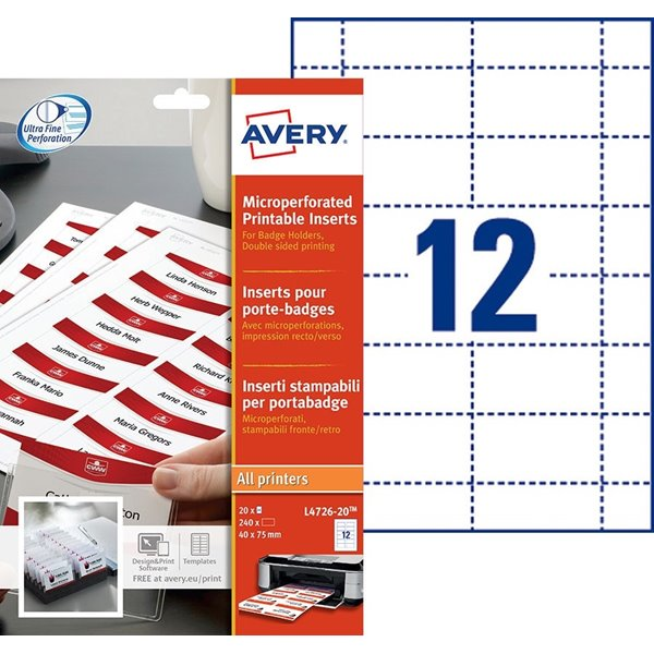 Avery Microperforated Printable Inserts 40x75mm PK240