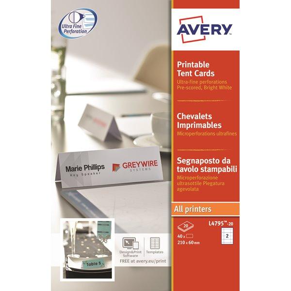 Avery L4795-20 Tent Cards 180x60mm 2 per Sheet PK40