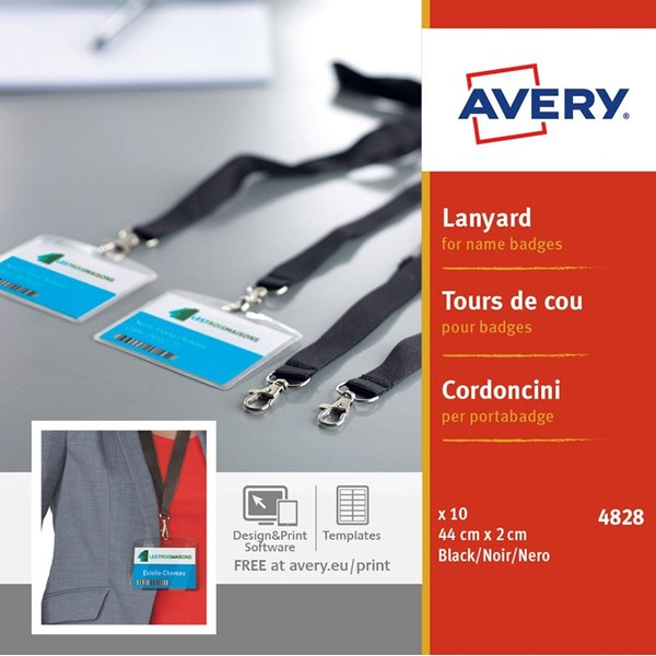 Avery 4828 Lanyards for Name Badges 440x20mm Black PK10