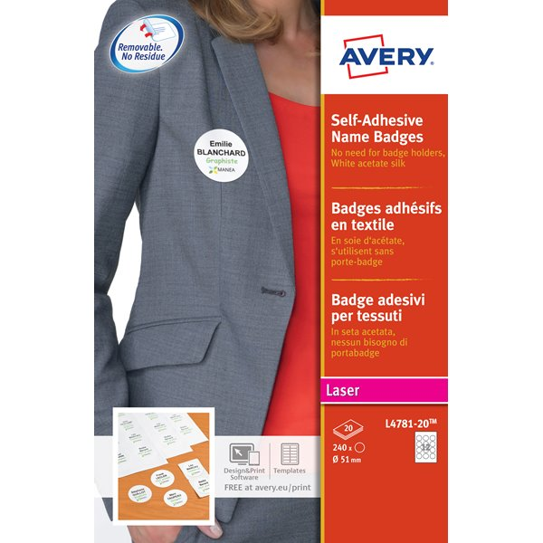Avery L4781 Self-Adh  Badge 51mm White Pack 240