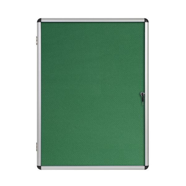 Foamboard Bi-Office Enclore Green Felt Lockable Noticeboard 9xA4