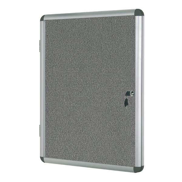 Bi-Office Enclore Grey Felt Lockable Noticeboard 9xA4