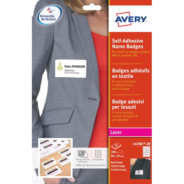 Avery L4786 Self-Adh  Badge 80 x 50mm White/Red Pack 200