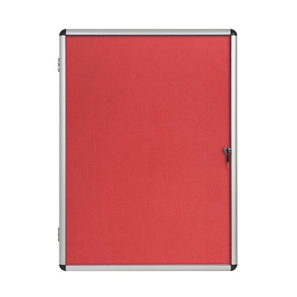 Bi-Office Enclore Red Felt Lockable Noticeboard 9xA4