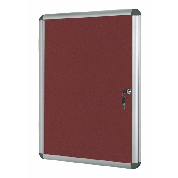 Foamboard Bi-Office Enclore Burgundy Felt Lockable Noticeboard 9xA4
