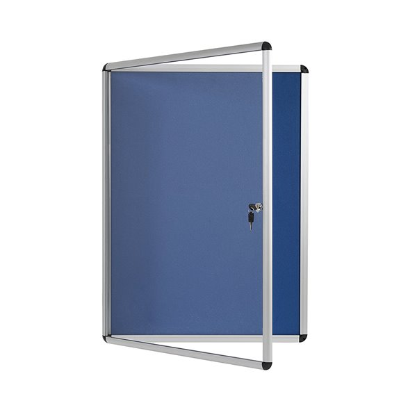 Foamboard Bi-Office Enclore Blue Felt Lockable Noticeboard 12xA4