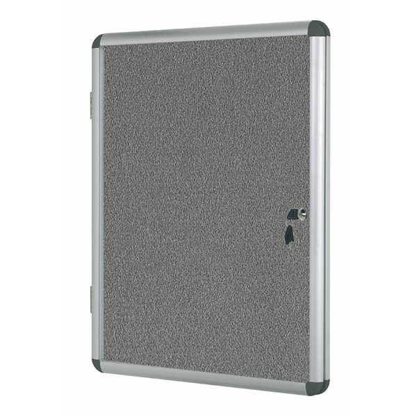 Bi-Office Enclore Grey Felt Lockable Noticeboard 20xA4