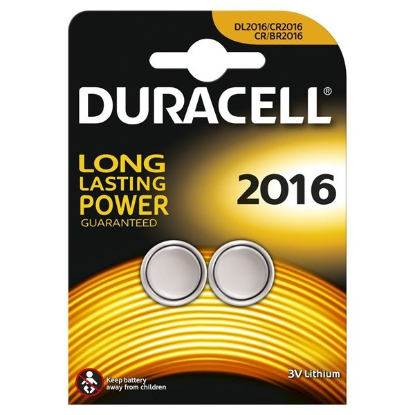 Button Cell Duracell Lithium Coin 3V 2016 2PK